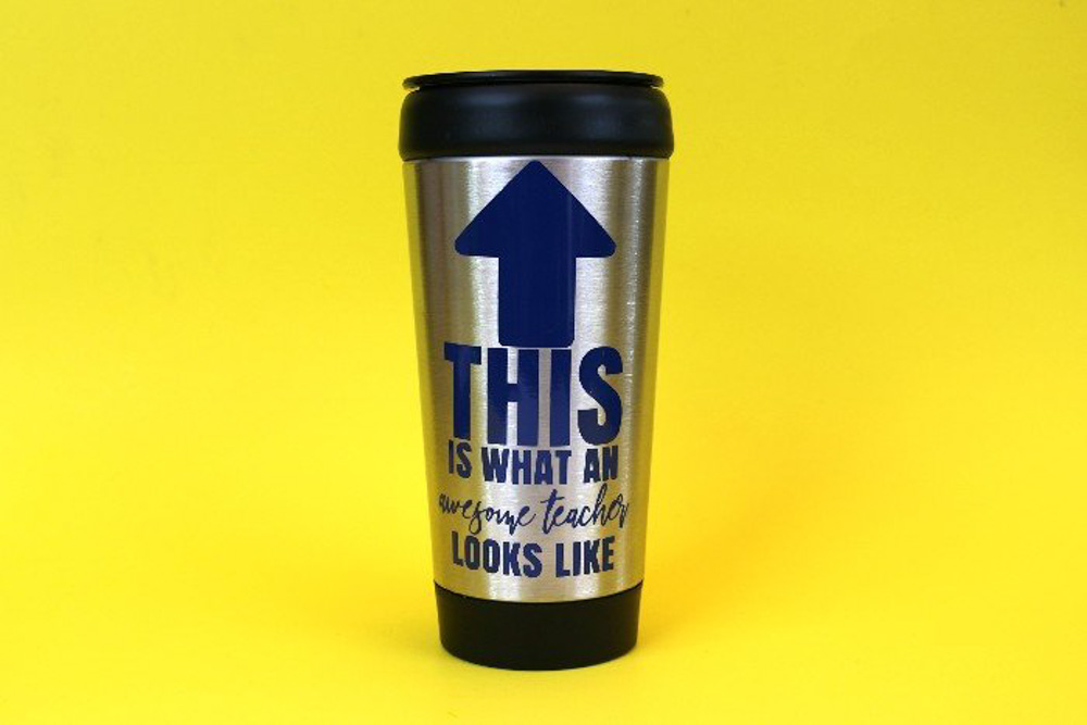 Reusable coffee cup for teachers