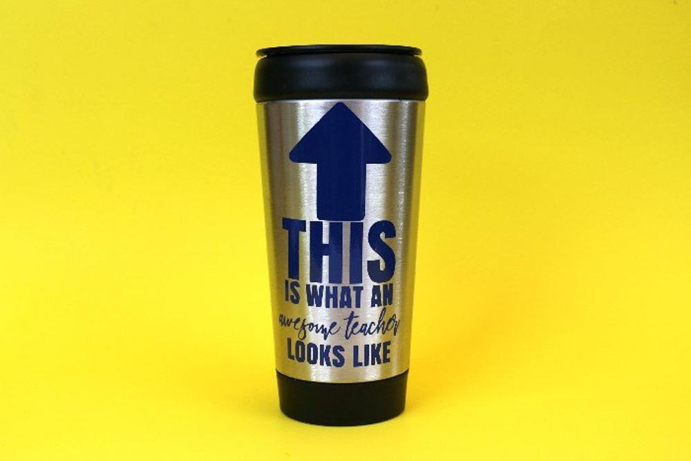 Reusable coffee cup for teachers