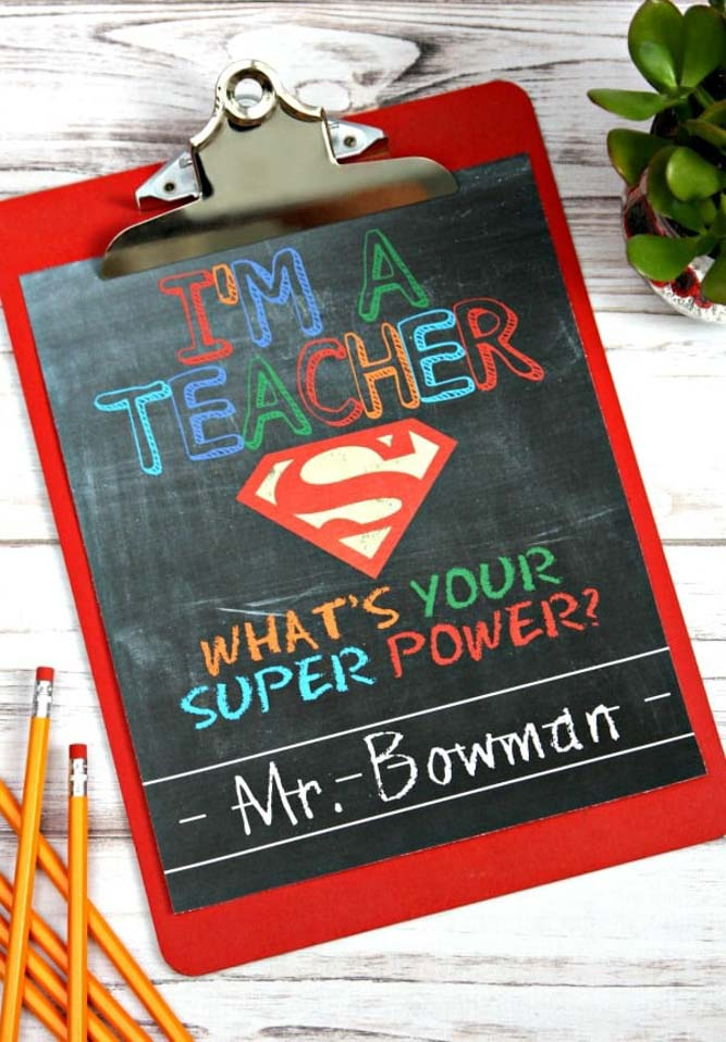 Teacher clipboard gift for male teacher