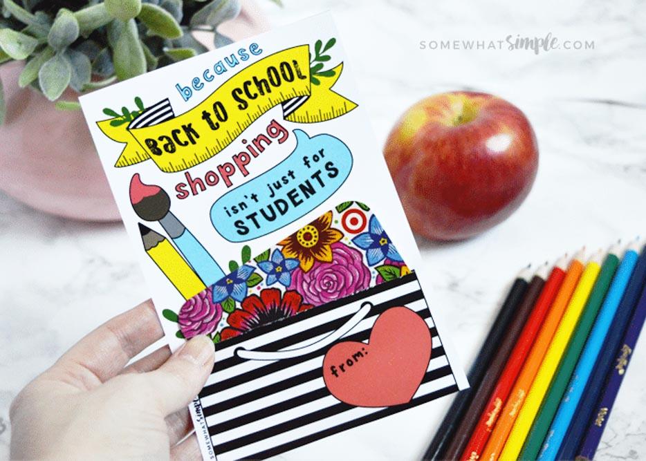 Gift Card Back to School Gift Printable