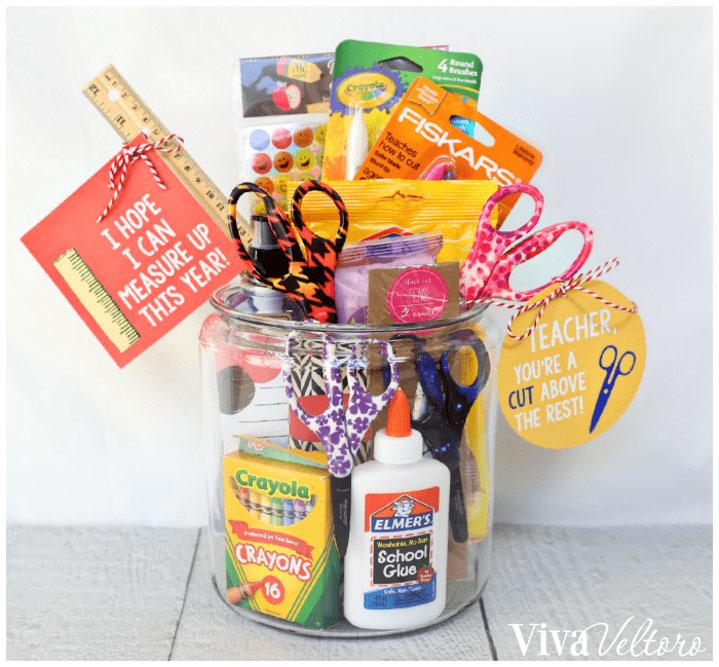 Jar of School Supplies gift for teacher