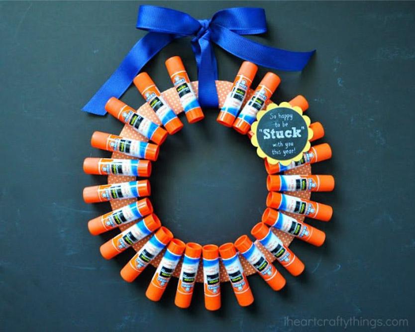 School Glue Wreath Teacher Gift